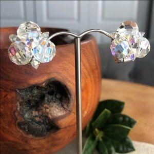 Vintage Sherman Aurora Borealis Cluster Earrings
